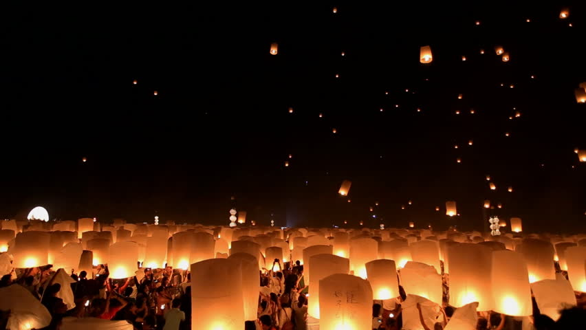 Floating lanterns in Yee Peng Festival, Loy Krathong celebration in Chiangmai, Thailand. - HD stock footage clip