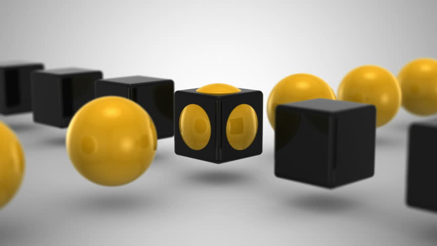 Cube & Sphere. Gray background