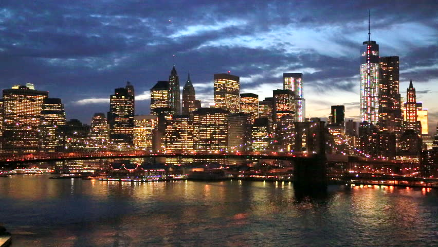 New York City Brooklyn Bridge downtown buildings skyline | Shutterstock HD Video #5085488