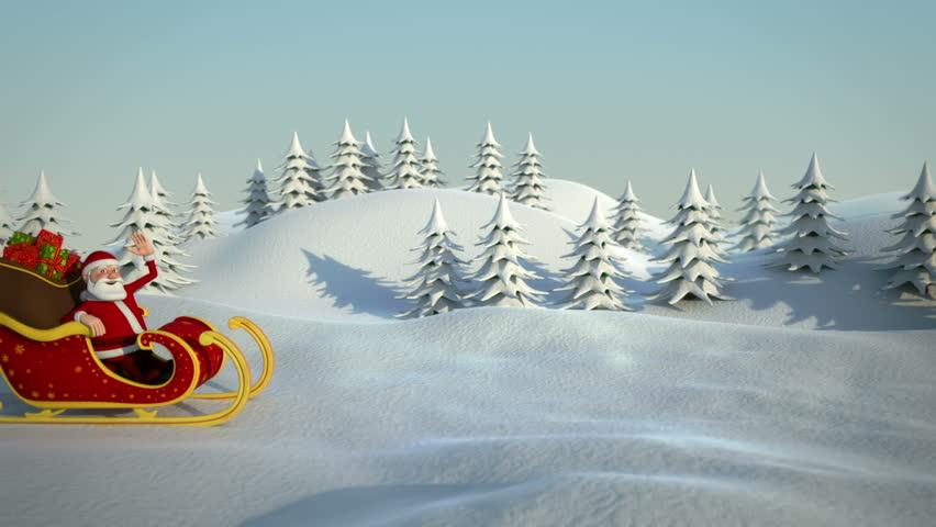 cartoon santa claus driving in his sleigh through snowy landscape - high quality 3d animation