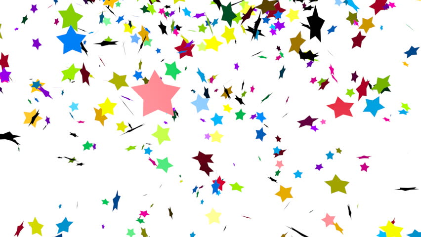 Animation of colorful stars falling - HD stock footage clip