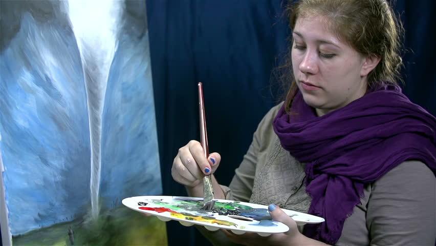 Professional artist finishing devastating tornado artwork - HD stock footage clip