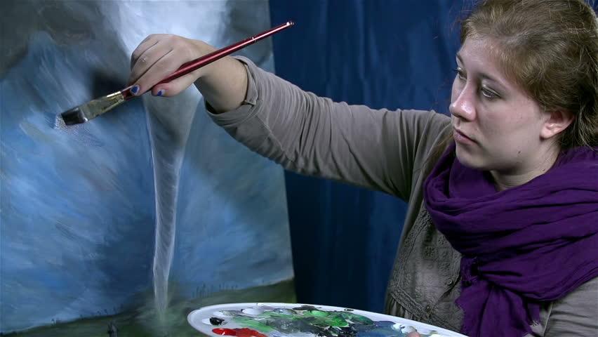 Female artist drawing huge dangerous tornado artwork - HD stock footage clip