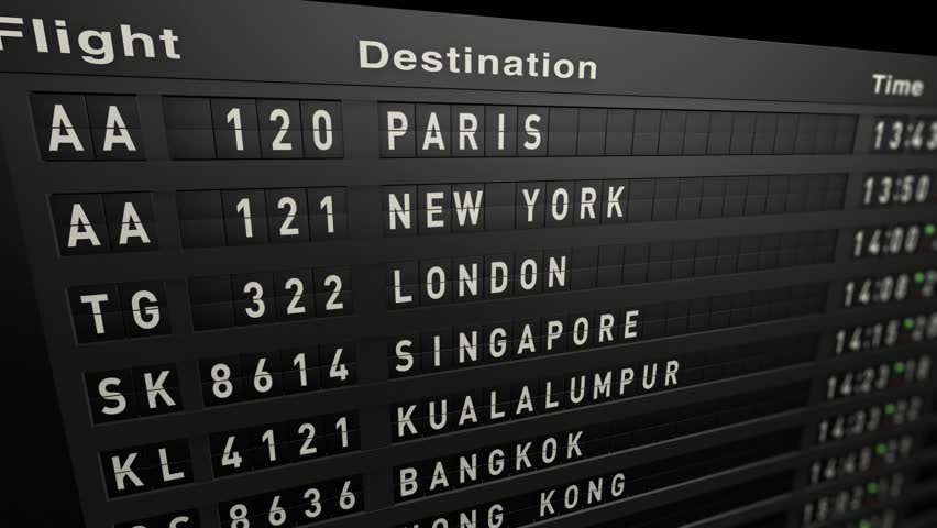 animation: Flight Schedule, Old Billboard