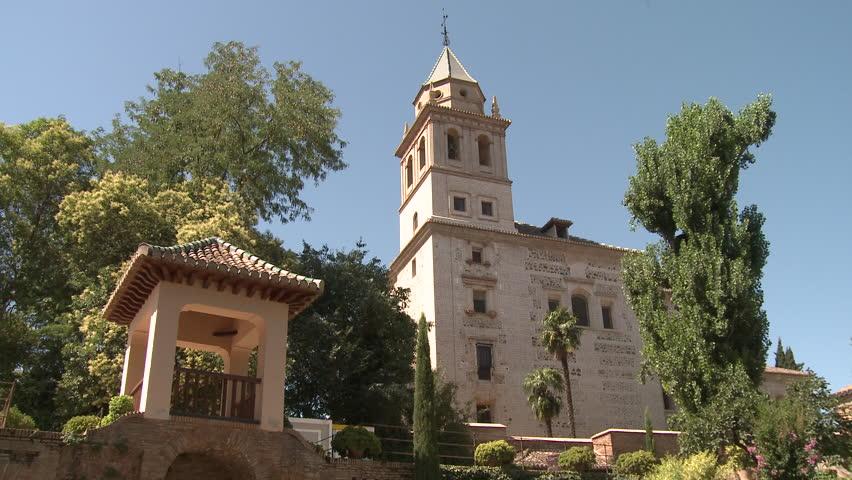 Building in Alhambra, Granada - HD stock video clip