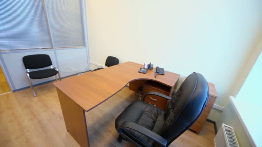 Interior Of Small Empty Office Room With Furniture Stock