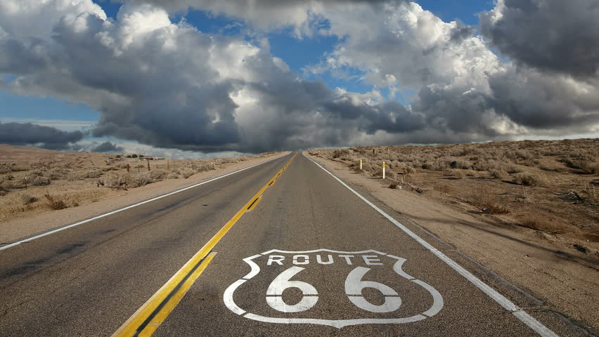 Route 66 highway pavement sign with time lapse clouds - Route 66 wallpaper 4k ...