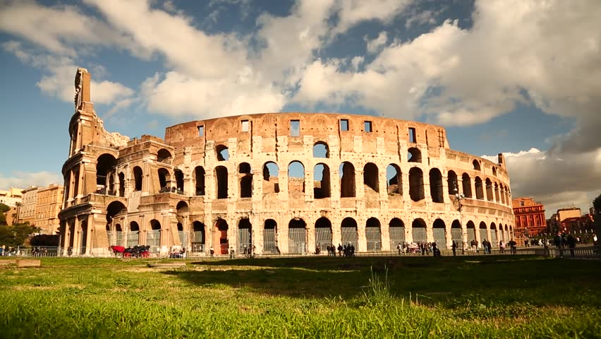A Dolly shot of the ancient Colosseum in Rome