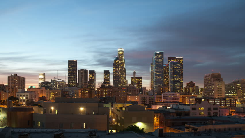 A timelapse of the Los Angeles skyline that goes from day to night to day.  Includes a beautiful sunset and fog that rolls into the city during the night.