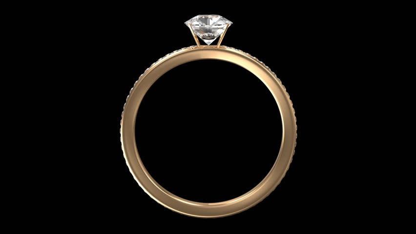 Animation of Golden Ring Rotation with Diamonds on two backgrounds. Seamless Looping HD Video Clip. Alpha Channel is Included. - HD stock video clip