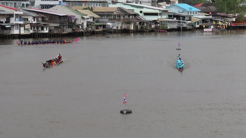 CHACHOENGSAO, THAILAND - NOVEMBER 16: annual rowing competition.  on 16 November 2013 at Bangkok, Thailand. - HD stock footage clip