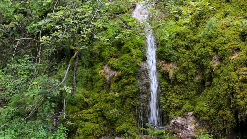 Beautiful waterfall in green spring forest - HD stock footage clip