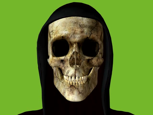 The Grim Reaper dressed in a black hood skull clicking his teeth. Animation on green screen, easy loop and editing