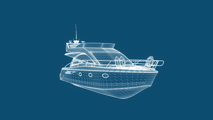 Blueprint recreational boat,seamless loop - HD stock footage clip