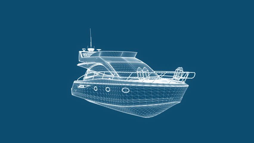 Blueprint recreational boat,seamless loop - HD stock footage clip