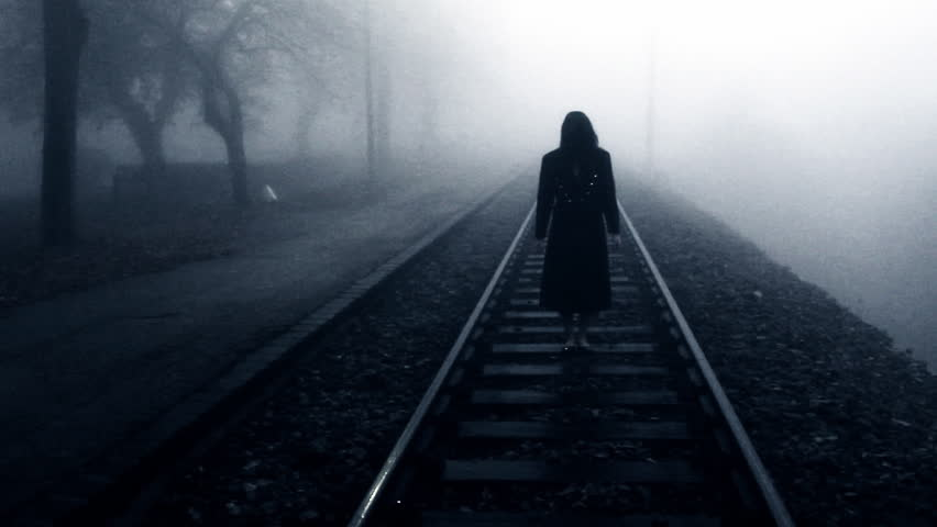 Horror scene of a scary woman - the female bogey in the mist | Shutterstock HD Video #5146688