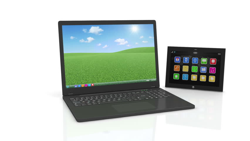 Animation of Black Laptop, Smart Phone and Tablet PC with Alpha Matte
