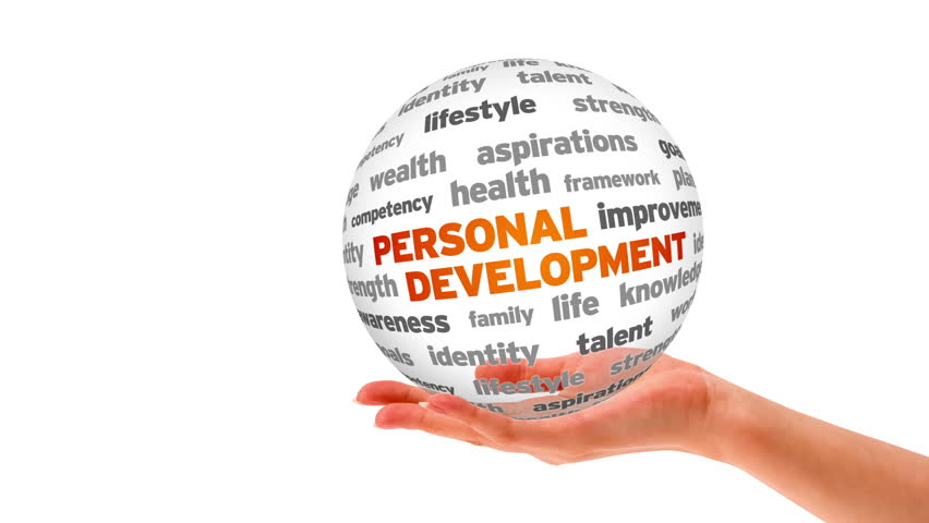 A person holding a 3D Personal Development Word Sphere