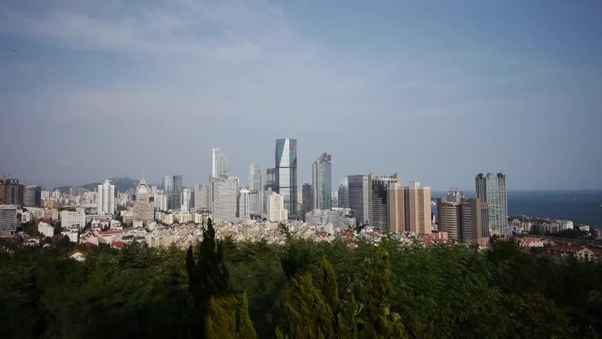 Overlooking urban & sea skyline,china QingDao(tsingtao). gh2_06654 | Shutterstock HD Video #5152862
