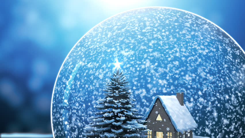 Loop able Christmas Snow globe Snowflake with Snowfall on Blue Background