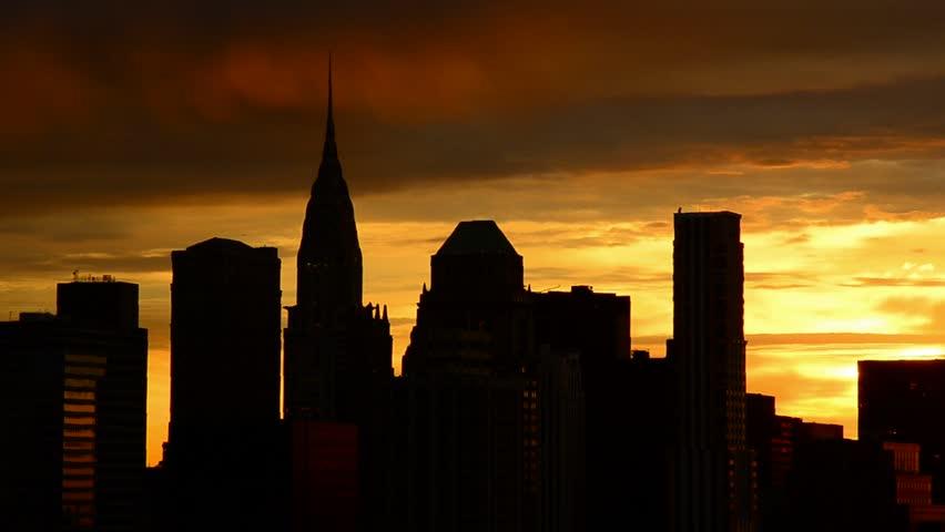 USA, New York, Manhattan Skyline at sunrise including Chrysler Building - HD stock video clip