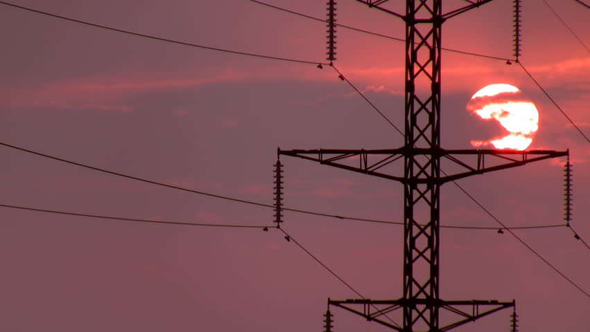 Power Lines on sunrise 2.  - HD stock footage clip