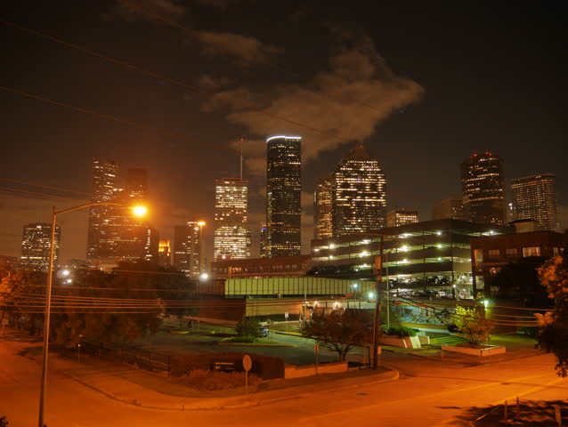 Houston, Texas - November 20, 2013 - Timelapse of downtown Houston in the early morning hours.