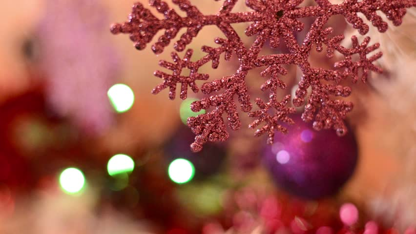 HD1080: Christmas And New Year Decoration On Christmas Tree   Pink Snow  Flake And Purple