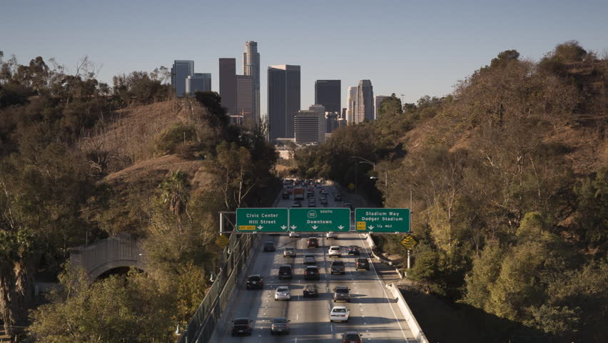 Los Angeles, California - November 13, 2013 - Morning commute along highway 110 South to downtown Los Angeles in the background.