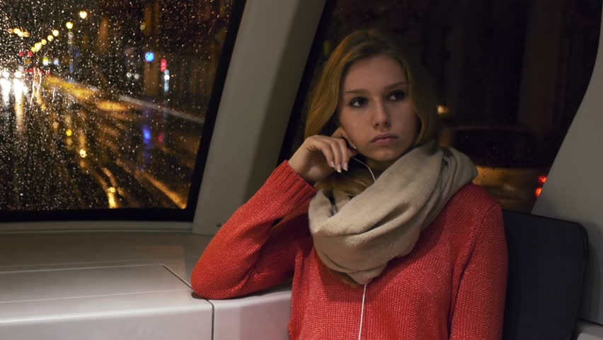 depressed woman on a tram