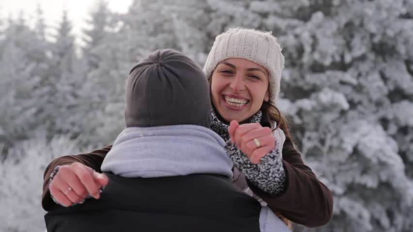 Happy Young Couple Hugging Outdoors Nature Winter Snow
