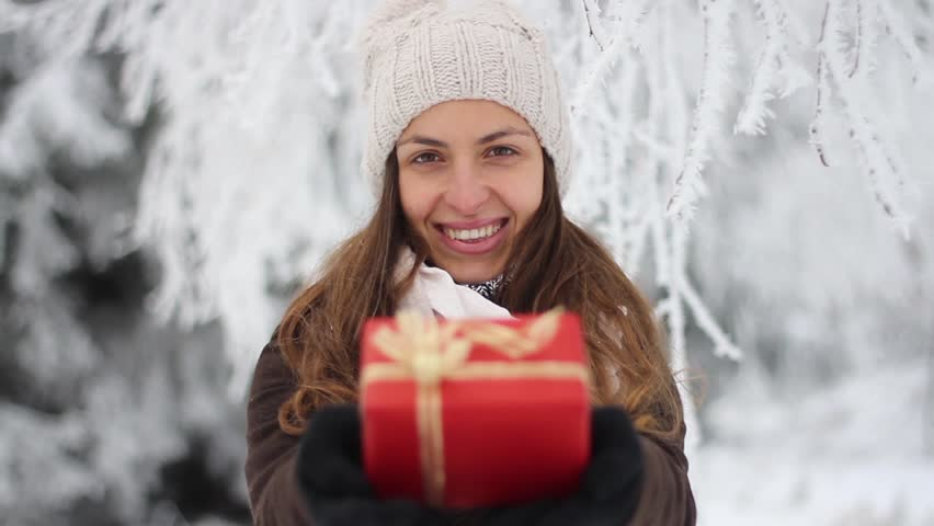 Christmas Present Pretty Woman Smiling Winter Outdoors