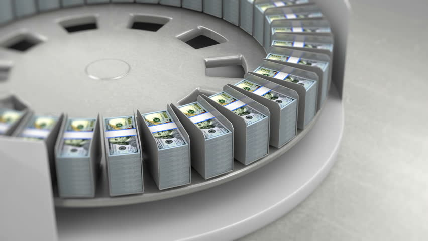 Dollar Bills on a Conveyor with stop motion. Looped Animation. - HD stock video clip