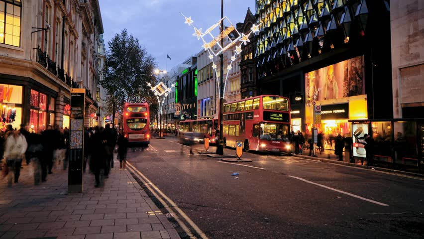 UK, London, Oxford Street, Christmas Lights and Shoppers (Time Lapse)