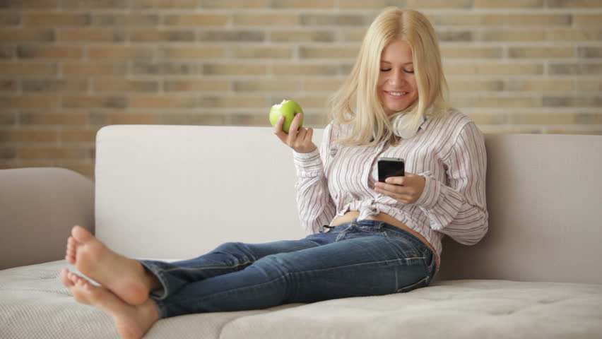 Woman Relax Sofa Stock Footage Video - Shutterstock