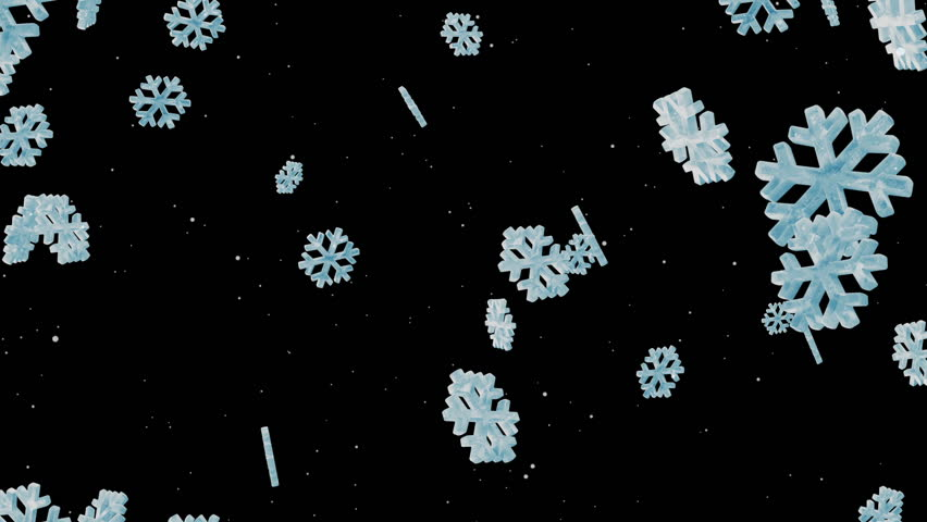 Animation of Icy Snowflakes on black background with Alpha Channel. HQ Video Clip