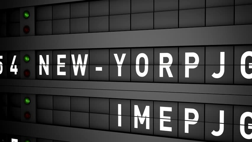 old airport billboard with city name New York