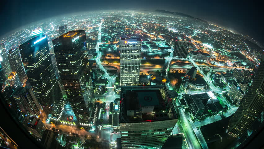 Time Lapse Overview of Los Angeles at Night - 4K - 4096x2304 UHD, Ultra HD resolution
