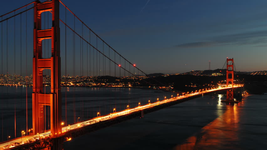 Time Lapse - Golden Gate Bridge at Night - 4K UHD, Ultra HD resolution - 4K stock video clip