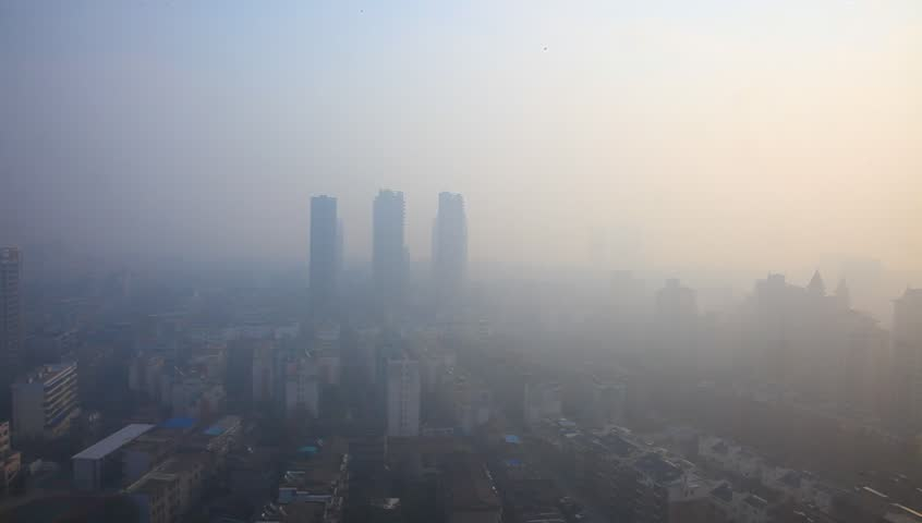 Air pollution in China, bird view of Fuzhou city under haze