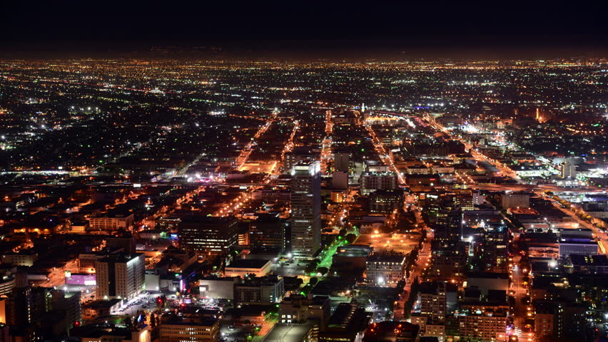 Time Lapse Overview of Los Angeles at Night - 4K, Ultra HD, UHD resolution