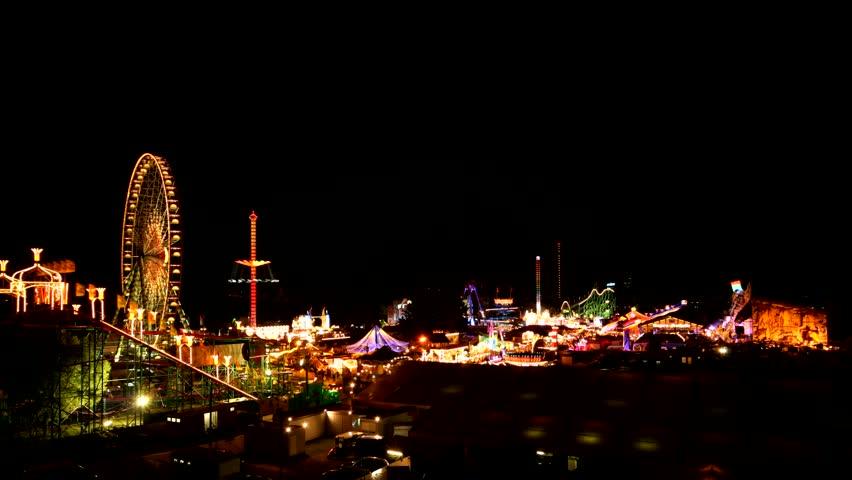 Funfair in Dsseldorf, Germany - time lapse - HD stock video clip