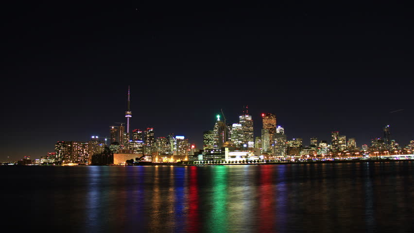 Toronto Night Skyline Timelapse 1. Toronto, Canada as seen from across the