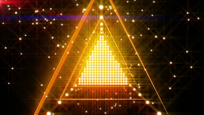 Orange Spinning Triangle Lights Abstract Background for use with music videos