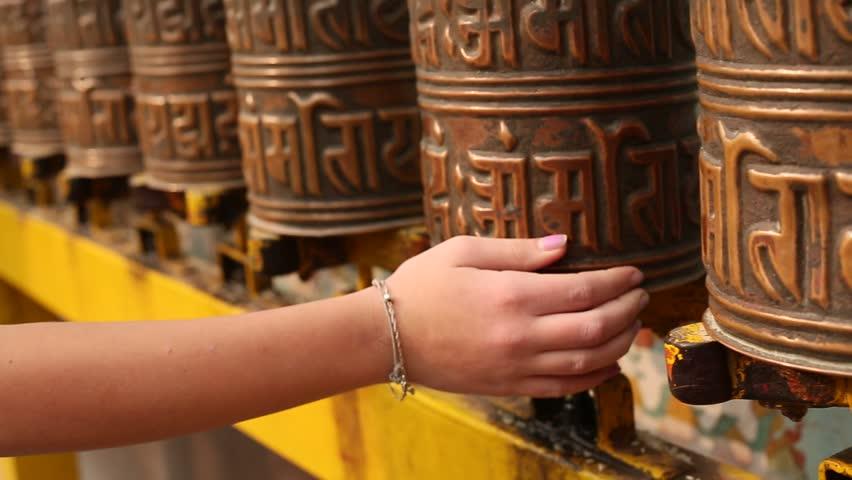 In buddhist monastery (stupa Boudhanath in Kathmandu, Nepal)