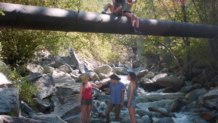 Group Of Teenage Girls Under And On A Forest Walk Bridge - HD stock footage clip