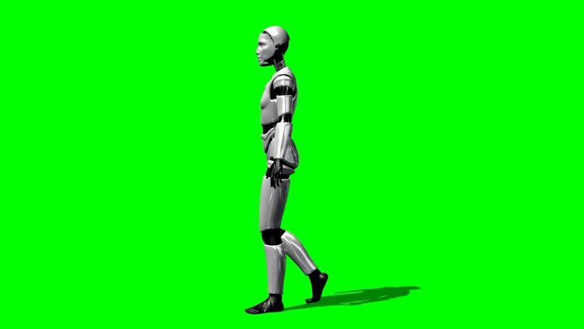 Humanoid I Robot walk animation green screen video Footage - HD stock video clip
