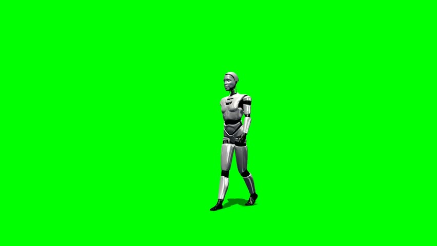 Humanoid I Robot walk animation green screen video Clip Footage - HD stock footage clip