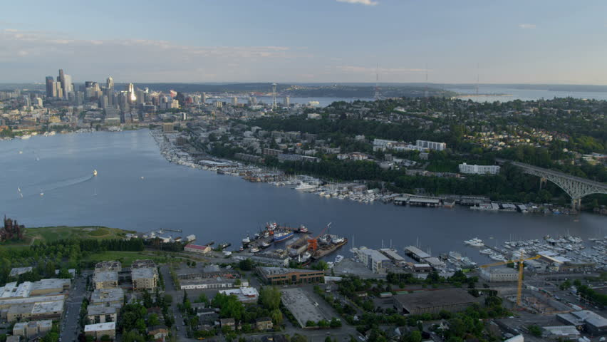 Aerial view of lake washington ship canal marine and for Fishing in seattle washington