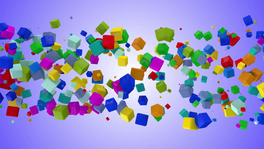 Animation of Flowing Colorful Cubes.HQ Seamless Looping Video Clip